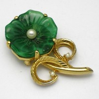 CINER  Lucite Floral Flower Figural Brooch Pin
