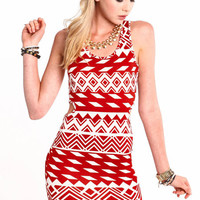 Tribal Cut Out Bodycon Dress