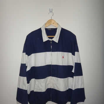 New Year Sale Vintage Polo By Ralph Lauren Stripe Jacket Hip Hop Style Street Wear Rugby Stadium P wing Era Coat Windbreaker Polo White Blue