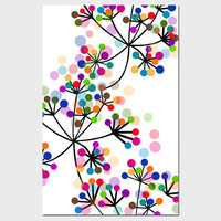 Modern Colorful Botanical - 11x17 Large Print - Original Graphic Design - Dots, Floral, Geometric