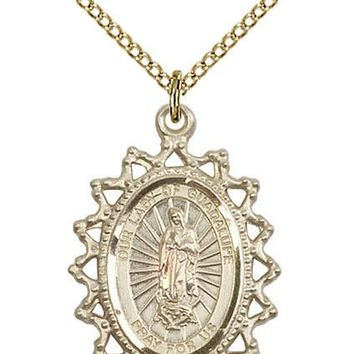 14K Gold Filled Our Lady Grace Miraculous Virgin Mary Medal Necklace Pendant 617759999297