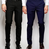 ASOS 2 Pack Skinny Fit Pants In Black And Navy SAVE 17%