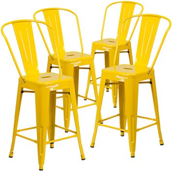 4 Pk. 24'' High Metal Indoor-Outdoor Counter Height Stool with Back