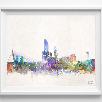 Rotterdam Skyline, Netherlands Watercolor, Poster, Dutch, Print, Living room, Cityscape, City Painting, Illustration Art, Europe [NO 436]
