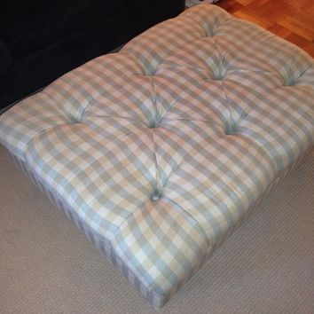 Ethan Allen plaid coffee table ottoman