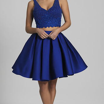 V-Neck Short Two-Piece Homecoming Dress
