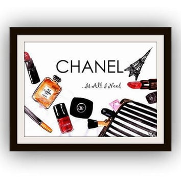 Chanel makeup art,quotes word decal, Printable vanity Wall decor, decals, print, bags, kate spade paris, lipstick pipe
