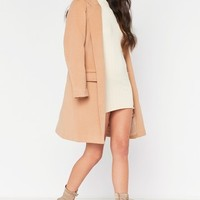carmel grey collared structured duster jacket
