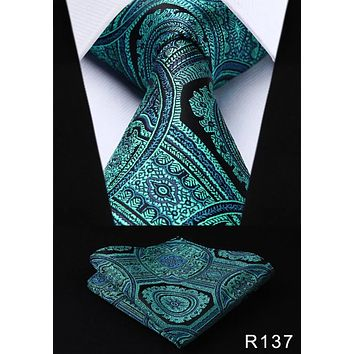 Men's Silk Coordinated Tie Set - Teal Black Paisley