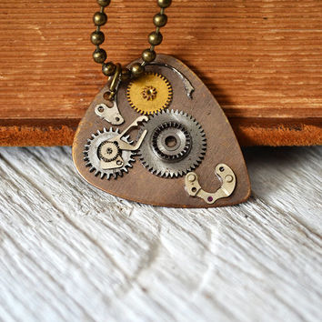 Steampunk Guitar Pick - Mens Metal Guitar Pick - Musician - Mens Necklace - Womens Necklace - Leather Cord