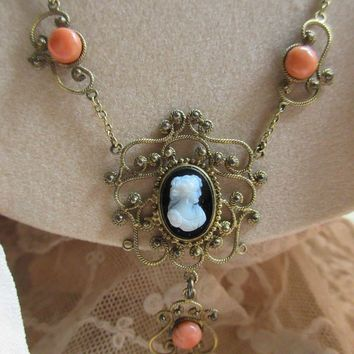 Antique Edwardian Coral and Hard Stone Cameo Necklace Gold Fill and Silver Gilt
