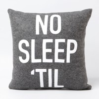 No Sleep Til Throw Pillow in Brooklyn Accessories at Brooklyn Industries