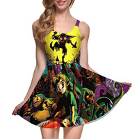 NEW 1251 Sexy Girl Women Summer Plants vs Zombies Peashooter Nut 3D Prints Reversible Sleeveless Skater Pleated Dress Plus size