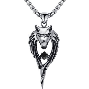 Stainless Steel Tribal Wolf W. Black Cubic Zirconia Pendant Necklace
