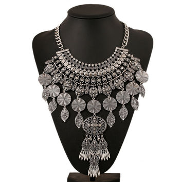 New Arrival Gift Shiny Stylish Jewelry Alloy Diamonds Leaf Costume Accessory Necklace [6056650625]