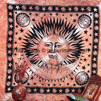 Psychedelic Celestial Sun Moon & Stars Tapestry, Celestial Sun Moon Tie Dye Tapestry, Indian Tapestry, Teen Age Dorm Bedding, Sun-Moon- Star