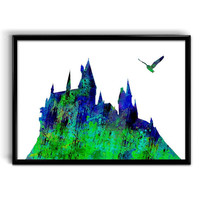Instant Digital Download Hogwarts Castle Watercolor