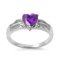 White Lab Opal Inlay Purple Amethyst Heart CZ Ring in Sterling Silver Size 6
