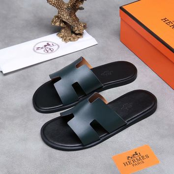 Hermes Men's Leather Fashion Sandals