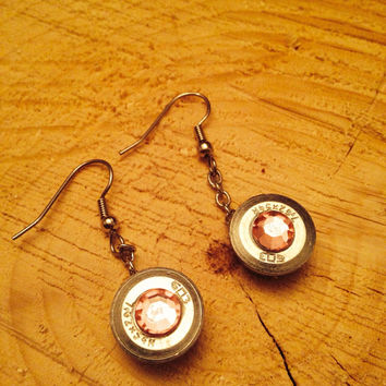 earring made from spent 7.62x54r sniper rifle bullet, brilliant silver casing with pink gem