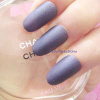 20 solid indigo matte false nails fake nails tips full cover oval drag queen short purple indigo nails blue glue on pressons lasoffittadiste