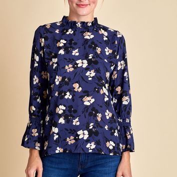 Veronica M Floral Ruffle Neck Bell Sleeve Top