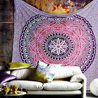 Cara Bohemian Purple Pink Wall Hanging Bed Beach Tapestry