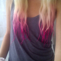 B A C K to THE FUSCHIA /baby pink to fuschia ombre/ dip dye/ duo colored pastel/ free people/ rainbow/ clip-in human (2) hair extensions