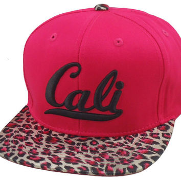 Flat Bill Snapback  Hat  3D CALI Hip Hop Hot Pink Cheetah Print Animal Bill