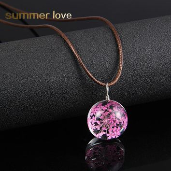 2017 Gypsophila Babysbreath Four-leaf Clover Dandelion Dried Flowers Pendant Necklace Glass Ball Rope Chain Necklace For Women