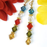 Crystal Dangle Earrings in Tibetan Prayer Flag Colors Handmade Jewelry