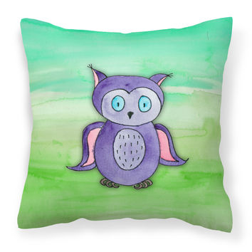 Purple Owl Watercolor Fabric Decorative Pillow BB7429PW1818