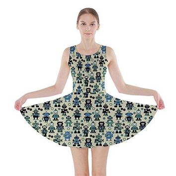 CowCow Green Robots Color Pattern Skater Dress