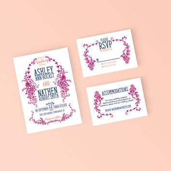 Printable Wedding Invitation Set - Hand drawn floral Invite, RSVP, Details Card - DIY Digital Ready to Print