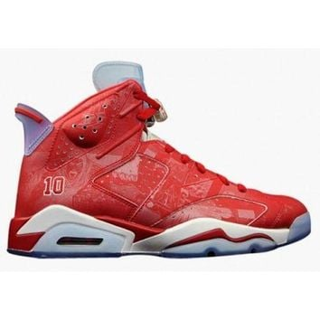 PEAPVX Beauty Ticks Authentic 717302-600 Nike Air Jordan 6 Retro Varsity Red/varsity Red-white Grade School's Shoe
