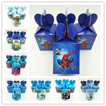 HOT 6Pcs Avenger/Mermaid/Mickey Minnie Mouse/Minions Candy Box For Kids Party Supplies Christmas Paper Gift Boxes