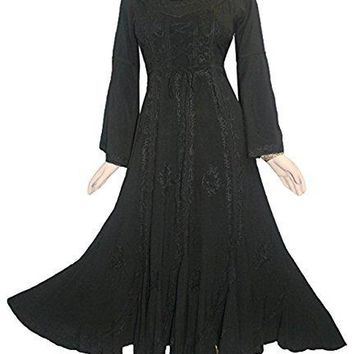 Peasant Embroidered Bell Sleeve Scalloped Hem Dress Gown
