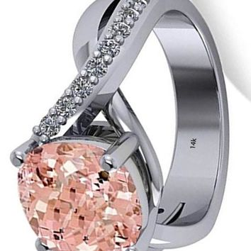 CERTIFIED 4.16ct 14k Gold Twisted Cushion Pink Morganite Engagement Ring