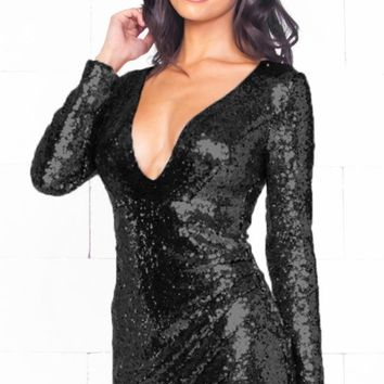 Indie XO Night Queen Black Sequin Long Sleeve Cross Wrap V Neck Tulip Mini Dress - Just Ours!