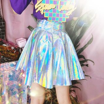 Holographic Iridescent Umbrella Skirt (5 Colors)