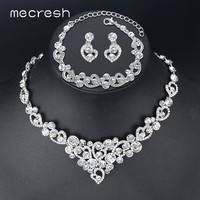 Mecresh Romantic Heart Crystal Wedding Jewelry Sets Silver Color Bridal Necklace Earrings Bracelets Sets For Women TL310+MSL285