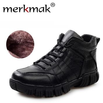 Hot Super Warm Russian Winter Boots Genuine Leather Men Shoes Thicken Fur Men Ankle Bo