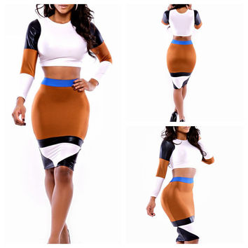 White and Brown with Leather Accent Long Sleeve Cropped Top and Bodycon Skirt Set