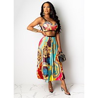 Versace Fashion Women Sexy Print Strapless Top Skirt Two Piece