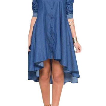 Short Front Long Back  Denim Dress Jeans  Casual Long Sleeve Denim Dresses Long Loose Skater Dress SM6