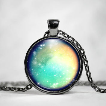 Titan Saturn Moon Necklace Pendant Jewelry Space, Galaxy, Celestial, Solar System,Pastel