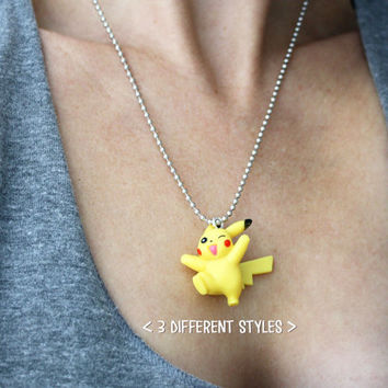 Pikachu necklace - 3 Different Styles Pokemon Pocket Monsters Inspired Necklace - With Pokeball