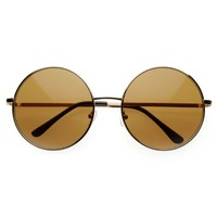 zeroUV - Super Large Oversized Metal Round Circle Sunglasses (Gold)