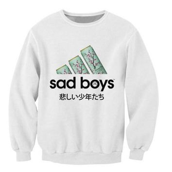 ca auguau Sad Boys Sweatshirt favorite green tea Crazy Sweats Women Men Japanese characters Jumper Fashion Clothing casual Tops Outfits