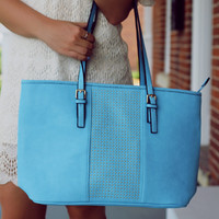 Next Stop Hand Bag - Light Blue